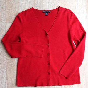 Red Slinky Ribbed Knit Cardigan Very Soft
